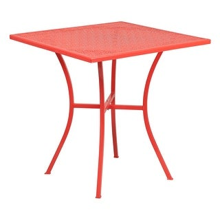 Offex 28'' Square Coral Indoor-Outdoor Steel Patio Table
