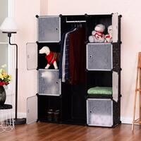Costway DIY 12 Cube Portable Closet Storage Organizer Clothes Wardrobe Cabinet W/Doors - Black