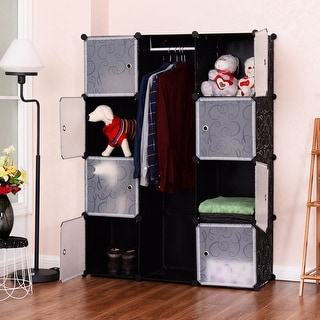 Costway DIY 12 Cube Portable Closet Storage Organizer Clothes Wardrobe  Cabinet W/Doors