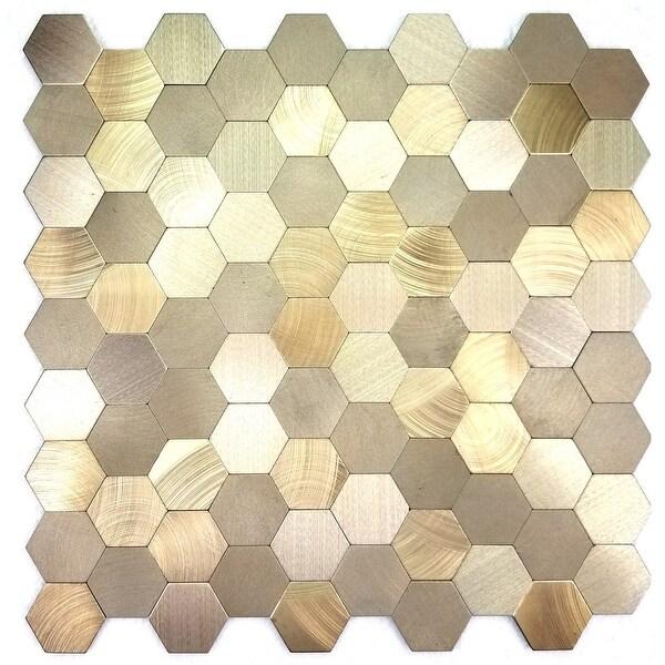 "Miseno MT-WHSEHMHEX-GO Enchanted Metals - 1"" x 1"" Hexagon Wall Mosaic Tile - Polished Metal Visual - Gold"