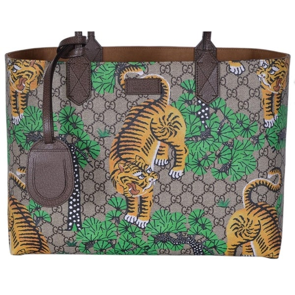 9167353faa01 Gucci Women's 412096 GG Supreme Bengal Tiger Purse Tote Handbag - Multi