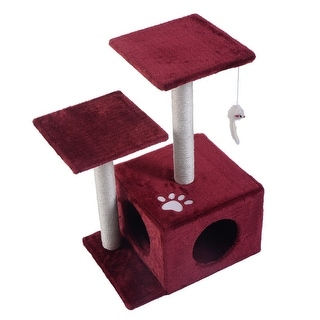 Costway Cat Tree Play Toy Scratch Post Kitten Pet House Red