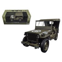 1/4 Ton US Army Jeep Vehicle WW 2 Hard Top 1/18 Diecast Model Car by Welly