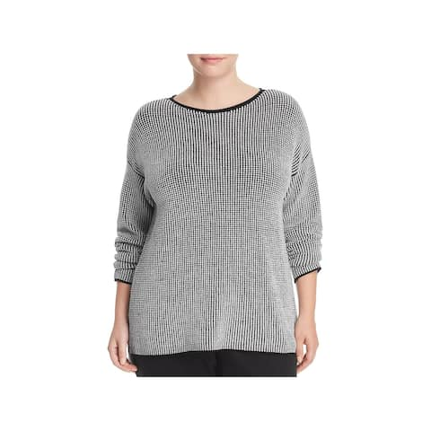 Eileen Fisher Womens Plus Pullover Sweater Wool Contrast Trim