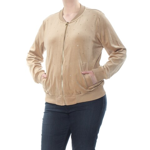 MICHAEL KORS Womens Beige Faux Suede Rhinestone Pocketed Zip Up Jacket Size: XXL