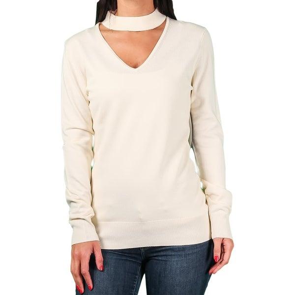 Ally NYC Ladies Keyhole Choker Neck Sweater