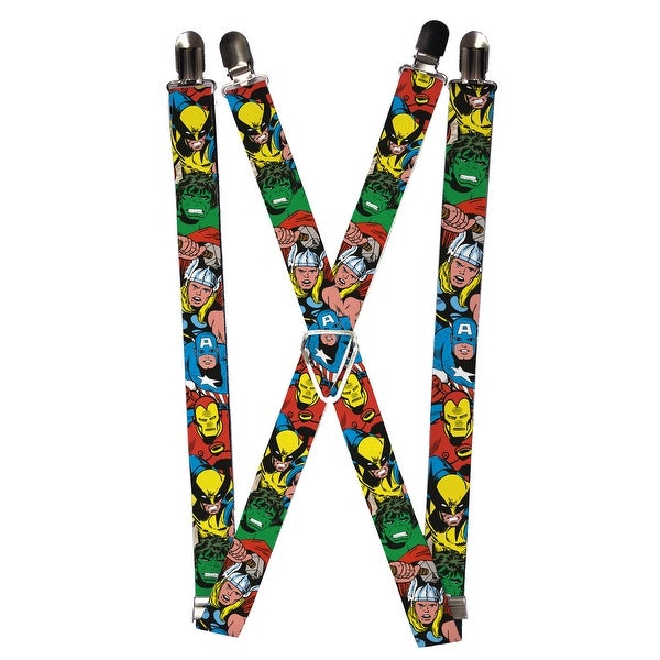 Buckle Down Men's Elastic Marvel Avengers Clip End Suspenders