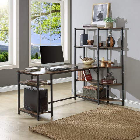 Home Office Computer Desk with 5 Tier Storage Shelves, Writing Table