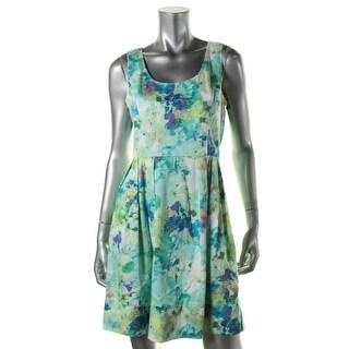 Calvin Klein Womens Petites Floral Print Pleated Casual Dress - 12P