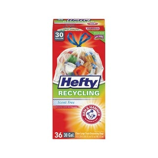 Hefty E85743 Arm & Hammer Drawstring Trash Bags, Clear, 30 Gallon