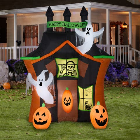 Gemmy Airblown Haunted Ghost House Scene, 9 ft Tall, Multicolored