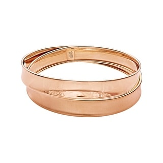 Crossover Bangle in 18K Rose Gold-Plated Sterling Silver - Pink