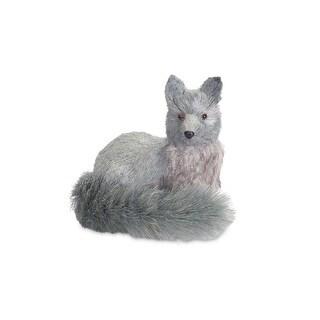 "8.5"" Winter Light Blue Gray Glittered Sisal Silver Fox Christmas Table Top Decoration"
