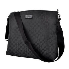 New Gucci 339569 Black Nylon GG Guccissima Crossbody Messenger Purse Bag