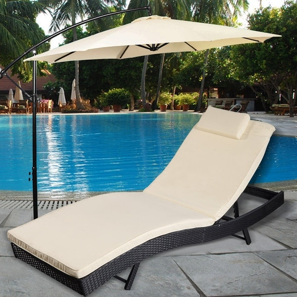 Costway Adjule Pool Chaise Lounge Chair Outdoor Patio Furniture Pe Wicker W Cushion Black