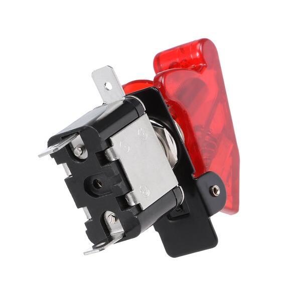 SPST Latching Rocker Toggle Switch Red LED Light 20A 12V 3P ON-OFF Black