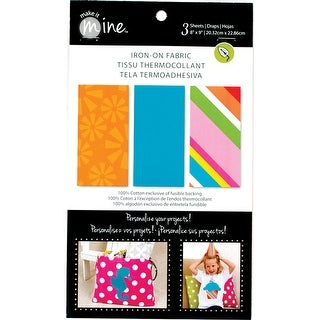 """Iron-On Fabric Sheets 8""""X9"""" 3/Pkg-Brights"""