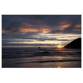"""Ocean sunset silhouettes lighthouse, Oregon Coast"" Poster Print"