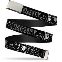 Blank Chrome Buckle Brony 2 Outline Expressions Black White Webbing Web Belt