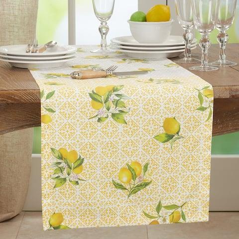 Block Print Table Runner With Lemon Design