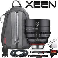 Rokinon Xeen 35mm T1.5 Lens for PL Mount With Professional Lens Backpack and Accessories - black