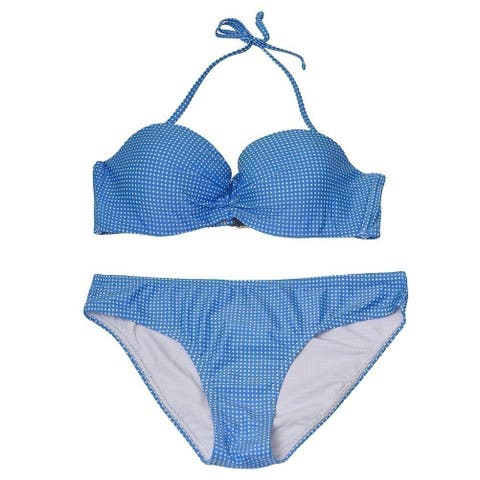 Pixie Pier Women's Blue Allover Pattern Halter Top 2 Pc Bikini Swimsuit