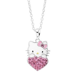 Girl's Hello Kitty October Heart Pendant with Crystals in Sterling Silver-Plated Brass - Pink