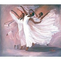 ''Angel Wings (mini)'' by Lavarne Ross African American Art Print (6.5 x 8 in.)