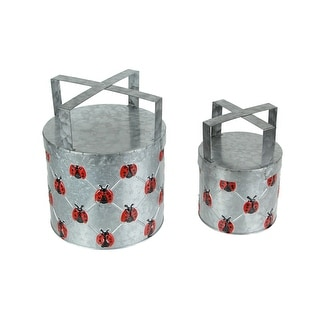 Set of 2 Galvanized Metal Planters With Stands Rustic Ladybug Flower Pot Decor - 9 X 7.25 X 7.25 inches
