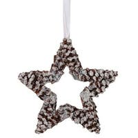 "10"" In The Birches White Pine Cone Star Christmas Ornament - brown"
