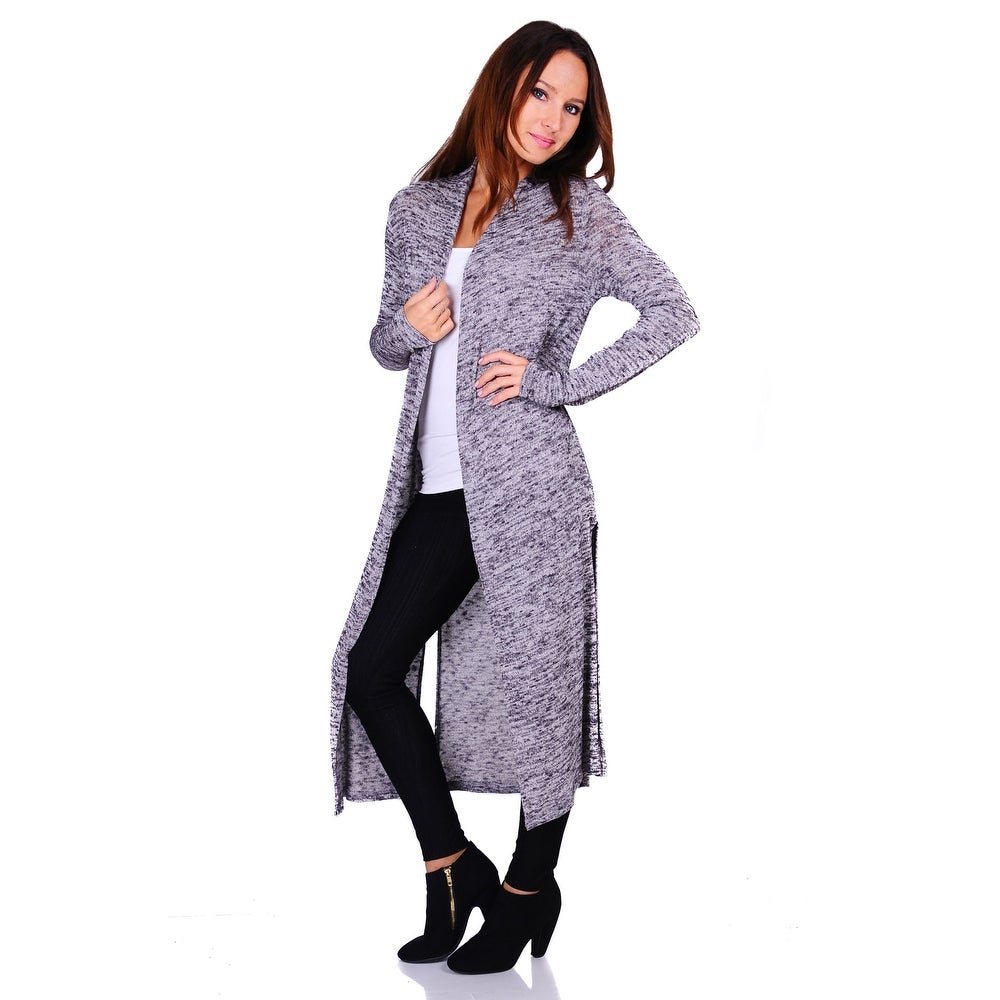 Simply Ravishing Hacci Knit 2-Tone Long Sleeve Long Cardigan (Size: S-3X)