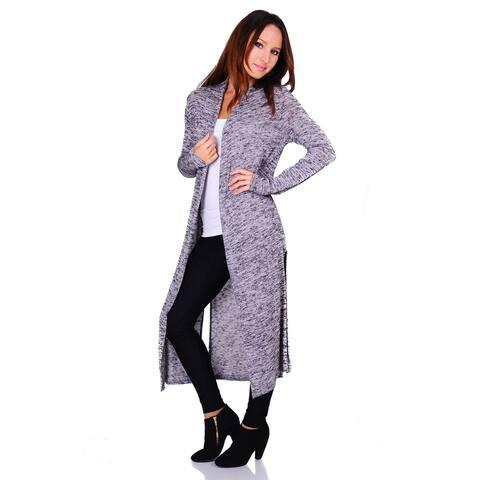 Simply Ravishing Hacci Knit 2-Tone Long Sleeve Long Cardigan (Size: S-3X)
