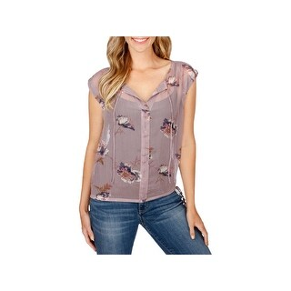 Lucky Brand Womens Casual Top Sheer Floral Print