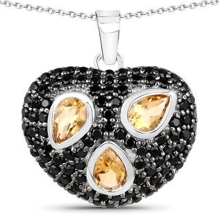 Link to Olivia Leone Sterling Silver 3ct Citrine and Black Spinel Heart-shaped Necklace Similar Items in Necklaces