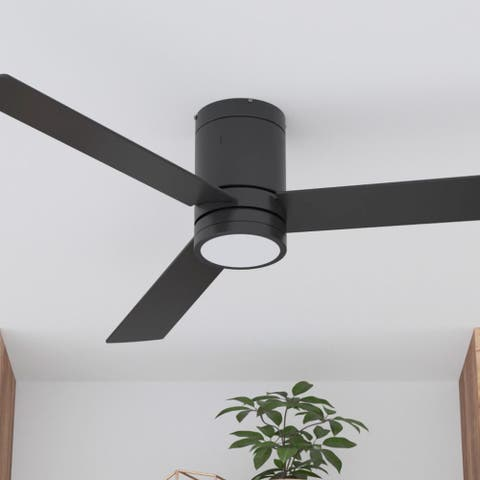 """52"""" Prominence Home Espy Modern Hugger/Low Profile Ceiling Fan with Remote, Matte Black"""