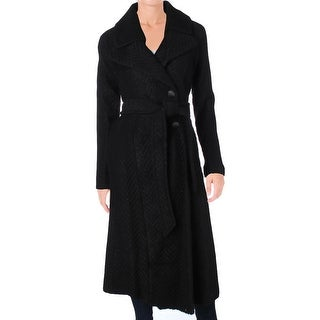 Nanette Lepore Womens Maxi Coat Herringbone Fold Over