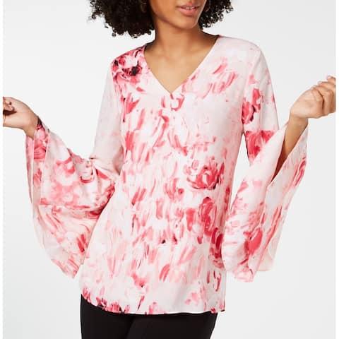 Alfani Women's Pink Size 14 Floral Bell Sleeve Chiffon Poet Blouse