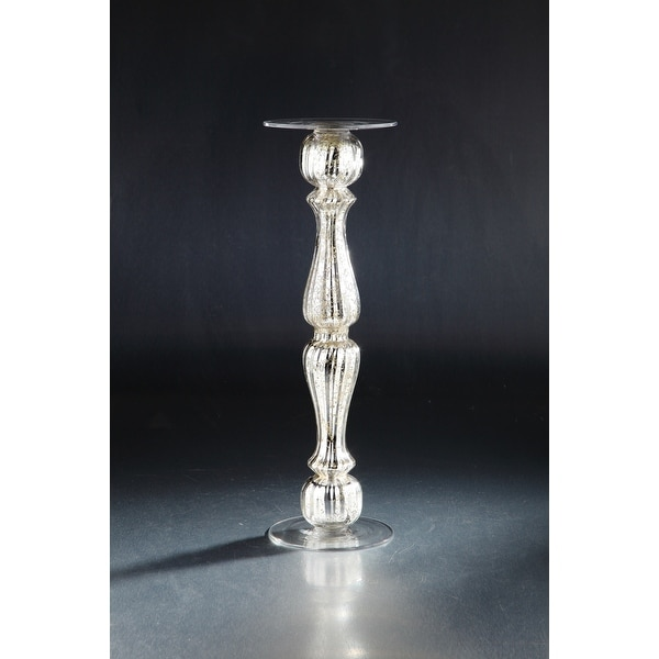 """19"""" Silver and Clear Baluster Style Candle Holder - N/A"""