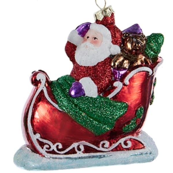 """4"""" Decorative Red and Green Glittered Santa In The Sled Christmas Ornament"""
