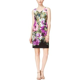 Connected Apparel Womens Wear to Work Dress Floral Print Knee-Length