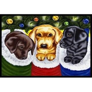 Carolines Treasures AMB1315MAT Christmas Stocking Surprise Labrador Indoor or Outdoor Mat 18 x 27