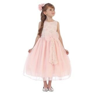Chic Baby Girls Blush Embroidery Ribbon Junior Bridesmaid Easter Dress