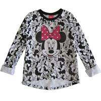 Disney Little Girls White Minnie Mouse Print Long Sleeve Hi-Low Shirt