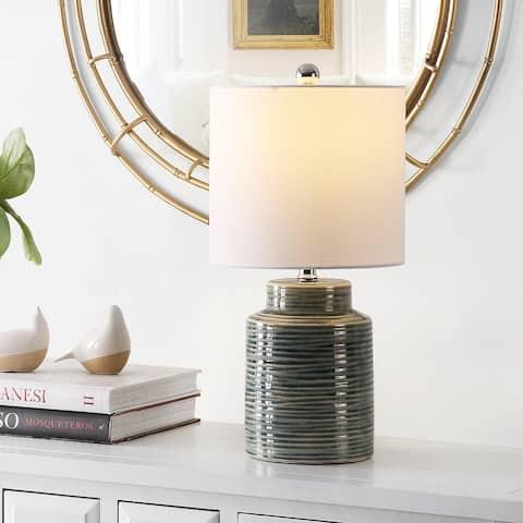 "SAFAVIEH Lighting 19-inch Boris Glass Table Lamp - 10"" x 10"" x 19"""