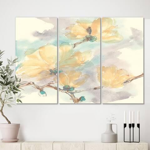 Designart 'Magnolias in White II' Cabin & Lodge Gallery-wrapped Canvas