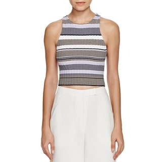 Elizabeth and James Womens Crop Top Striped Racerback