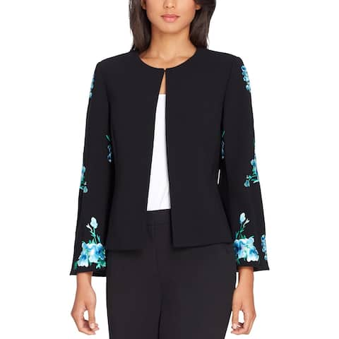 Tahari Womens Open-Front Blazer Embroidered Floral