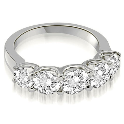 2.00 cttw. 14K White Gold Classic U-Prong Set Round Cut Diamond Wedding Band