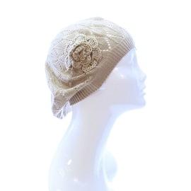 Womens Diamond Stripe Flower Beanie Hat