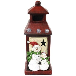 "Alpine AJY342 Christmas Snowman LED Light Lantern, 16-3/4"" H"